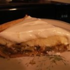 Rhubarb Cheese Pie - This isn't your typical rhubarb pie - it has a layer or rhubarb topped with a cream cheese layer, and is finished off with a vanilla sour cream topping.