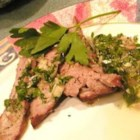 Chimichurri Sauce for Steaks - Herbs and spices are added to olive oil, sherry vinegar, and lemon juice, then whirred in a blender or food processor. The sauce can be used as a marinade.