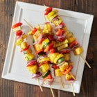 Grilled Fruit and Vegetable Kabobs - These fresh grilled fruit and veggie kabobs are a great healthy dinner your family will love. Plus, using aluminum foil prevents these kabobs from sticking to the grill, and makes cleanup a breeze.
