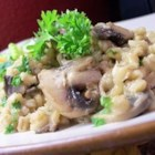 Byrdhouse Mushroom Barley Pilaf - This is a cozy, savory side dish flavored with basil and mushrooms.
