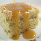 Special Rhubarb Cake - This delicious and moist cake is studded with fresh rhubarb and served with a brown sugar and vanilla cream sauce.