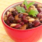 Calico Veggie Beans - This recipe for black beans, kidney beans, butter beans, and lima beans in a sweet and tangy sauce makes a crowd-pleasing one-dish meal.
