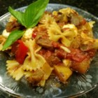 Awesome Eggplant Pasta - Rigatoni is tossed in a homemade tomato sauce with eggplant and fresh mozzarella for a quick weeknight eggplant pasta dish.