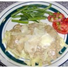 Beef Stroganoff with Noodles - Beef, bacon, onion, and sauteed mushrooms, all simmered in a creamy rich sour cream sauce. Great over egg noodles. Sure to be your families favorite.