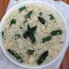 Parmesan Asparagus Rice - Aromatic basmati rice cooked with asparagus in vegetable stock and butter is blended with Parmesan cheese just before serving.