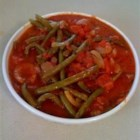 Grecian Green Beans in Tomato Sauce - The tomato taste and seasonings are worth the time and effort. Try the sauce with okra, too. Enjoy!