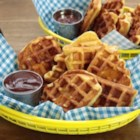 Chicken in a Waffle - Baked chicken nuggets are coated in savory waffle batter and cooked until crisp and golden in a waffle iron.