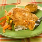 Photo of: Coconut Tilapia with Apricot Dipping Sauce - Recipe of the Day