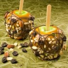 Seattle Caramel Apples - Trail mix adds a nutty texture to these delicious caramel apples.