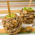Peanut Butter Crunch Apples - Apples and peanut butter are a classic combination. Surprise your friends this fall with this crispy peanut butter cookie coated caramel apple creation.