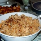 Chicken Biryani, Hyderabadi Style - A trademark of home-cooking in southern India, this luscious chicken dish is an authentic Hyderabadi-style biryani.
