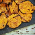 Grilled Spicy Sweet Potato Chips - Grilled sweet potato chips with chile powder, garlic, and cumin are a spicy and sweet snack or accompaniment to grilled burgers for summer barbecues.