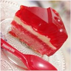 Ruby's Strawberry Jell-O(R) Flan Cake - Strawberry Jello-O(R), flan, and strawberry cake come together to make this amazing delicious 3-layer cake!