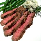 Grilled Flat Iron Steak with Blue Cheese-Chive Butter - I made this up as a Valentine's Day dinner.  The butter is what makes this dish.