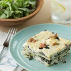Cheesy Spinach Lasagna - One of the easier lasagna recipes with cream cheese, Provolone and cottage cheese, bacon, spinach layered between lasagna noodles.