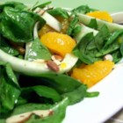 Orange-Fennel Salad - Tender spinach, oranges, fresh fennel, and sliced almonds are tossed with a homemade vinaigrette in this lively salad.