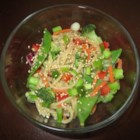 Asian Pasta Salad - Quick, colorful and oh so tasty, this pasta salad gets its distinctive flavor from ready-made Asian-style salad dressing. Lightly blanched broccoli and snow peas along with red pepper and red onions add to the fun.
