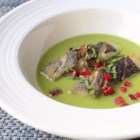 Spring Pea Green Curry with Black Cod and Strawberry - Chef John's unlikely pairing of sweet peas, green curry, black cod, and strawberries bring together a beautiful spring pea green curry dish.