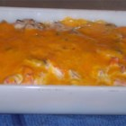 Louisiana Shrimp Casserole - Shrimp in a creamy mushroom sauce is served over rice and topped with cheese.