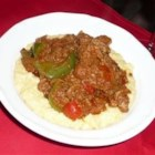 Chicken Livers with Gorgonzola Polenta - Hearty and delicious, a great and different way to serve chicken livers.