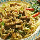 Indonesian Pork Noodle Bowl - Marinated strips of pork loin are stir fried with cabbage, celery, garlic, and vermicelli pasta.