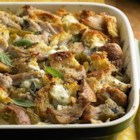 Pork Roast Strata with Green Chiles and Goat Cheese - Layers of cooked shredded pork sirloin roast, bread cubes, green chiles, goat cheese, and fresh sage are baked in an egg-milk base for this hearty brunch or main dish casserole.