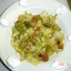 Czech Cabbage Dish - Cooked cabbage with bacon, onion, celery, bell pepper and vinegar.