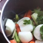 Basic Chicken Stock - Onions, celery, carrots and whole cloves are simmered with bony chicken pieces in this recipe which yields a little more than a quart of rich stock to use in soups or sauces.