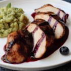 Red, White, and Blueberry Grilled Chicken - Spicy chili-rubbed chicken breasts with sweet-sour blueberry sauce in Chef John's Red, White and Blueberry grilled chicken is perfect for a summer barbeque.