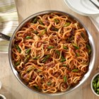 One Pan Linguine with Asparagus and Bacon - For a quick weeknight meal, this linguine in traditional tomato sauce with asparagus, bacon, and cheese couldn't be easier.