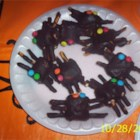 Edible Spiders - A cute Halloween snack that is fun for kids to make and eat. Marshmallows grow chow mein legs and and candy coated eyes.