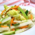 Jicama, Carrot, and Green Apple Slaw - Pear and cilantro accompany jicama in this flavorful take on an old barbeque standby.