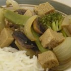 Tofu-Veggie Stir Fry and Gravy - Tofu and vegetables are stir-fried and combined with gravy in this vegan dish.