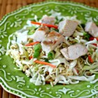 Portable Chinese Chicken Salad - This cold chicken coleslaw salad is wonderful, because you prepare it ahead of time and mix it up just before serving. It's also an easy salad to travel with.