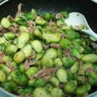 Jasmine's Brussels Sprouts - A tasty side dish that combines the flavors of garlic and pancetta with Brussels sprouts.