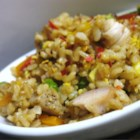 April's Chicken Fried Rice - A simple way to make fried rice that is better than in some Chinese restaurants! Boneless chicken breasts are stir fried with white rice, scrambled eggs, mushrooms, green onions and soy sauce.