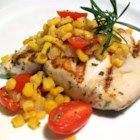 Rosemary Marlin with Roasted Corn and Tomato Relish - Grilled marlin seasoned with an olive oil and fresh rosemary marinade is accompanied by an easy, oven-roasted relish starring summer-fresh corn, onions, garlic, and cherry tomatoes.