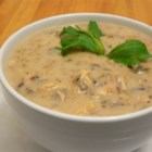 Cream of Chicken with Wild Rice Soup - A creamy soup of chicken, wild rice, sliced mushrooms and white wine in a freshly made stock.