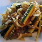 Japanese Zucchini and Onions - Zucchini and onions are stir fried with sesame seeds and teriyaki and soy sauces.
