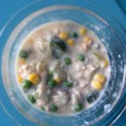 Leftover Grilled Salmon Chowder - Use leftover salmon to make this simple and delicious salmon chowder with potatoes, peas, corn, Swiss cheese, Cheddar cheese, and a touch of dill.