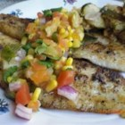 Catfish with Tropical Fruit Salsa - Light and flaky catfish is quickly broiled and  topped with a tropical fruit and corn salsa.  Serve with white rice for a beautiful light supper.