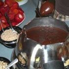 Chocolate Bar Fondue - A rich chocolate fondue with a little coffee kick. Serve with fruit or pieces of leftover cake on skewers.