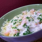 Scim's Fettucine Alfredo with Shrimp - Fettucine pasta with shrimp and mushrooms in a rich cream sauce.