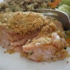 Alternative Baked Salmon - A simple and tasty salmon entree. Mayo and onions deliver a sweet and creamy flavor which is perfect with the crunch of the bread crumbs. I sometimes add nutmeg, totally optional. Tastes great with rice pilaf.