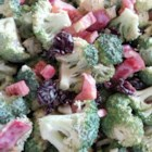 Curried Broccoli Cranberry Salad - Broccoli and cranberry salad gets a new spicy twist thanks to curry powder and cayenne pepper added to the creamy dressing.