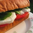 Basil, Tomato and Mozzarella Sandwich - This is a quick and refreshing no cook vegetarian meal. Basil, mozzarella and tomato on Italian bread.  Great for those hot summer evenings when you don't feel like cooking.