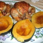 Orange Baked Acorn Squash - Baked acorn squash with a buttery orange flavor, accented with nutmeg. Kids love this!