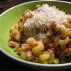 Turkey Ragu with Fontina and Parmesan - A hearty, cheesy pasta dish with ground turkey simmered in tomato sauce.