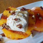 Grilled Peaches and Cream - This is an easy grilled peach dessert! I use a honey nut flavored cream cheese spread and it's wonderful! Drizzle a little extra honey after they're grilled and they're perfect!