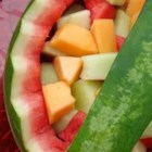 Watermelon Salad - Personal-sized watermelons make it easy to serve fruit salad inside individual watermelon-rind bowls!